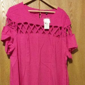 torrid Size 3 Pink Lattice Trapeze Dress NWT